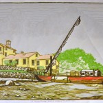 """Shane P. Chick limited edition woodblock print, """"The Captain Edward H. Adams at anchor in the mussel flats,"""" are available for purchase."""